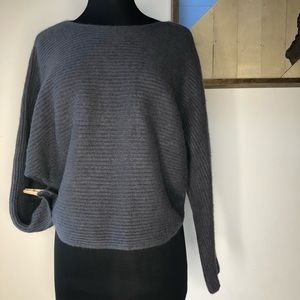 Vince gray wool and cashmere boxy crop sweater